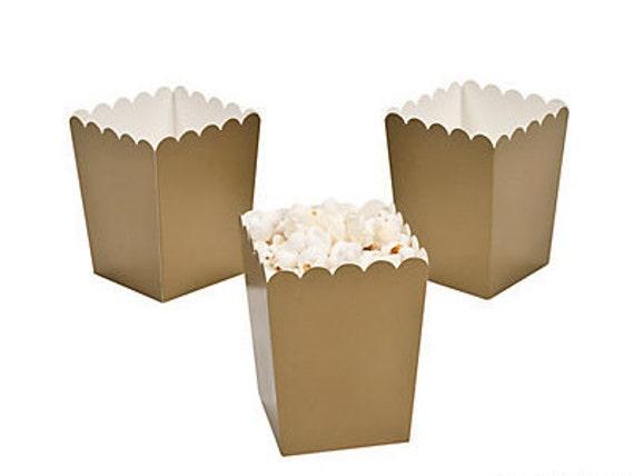 Gold ~ Popcorn Box ~ Mini ~ Set of 6 ~ Wedding Favor