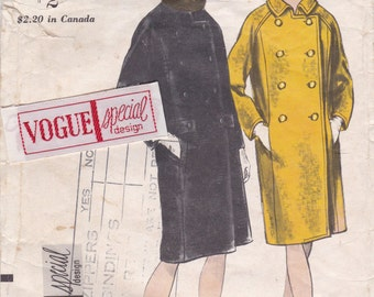 Double Breasted Coat Pattern Vogue 6584 Size 12 with Label