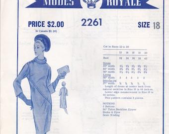 1960s Designer Coat Dress Pattern Modes Royale 2261 Size 18 Unused