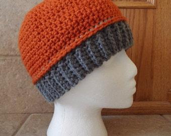 Crochet Beanie, Hat, knit beanie, Beanie, knit hat, ribbed brim, brim hat, band hat, unisex, orange, gray, pumpkin, halloween