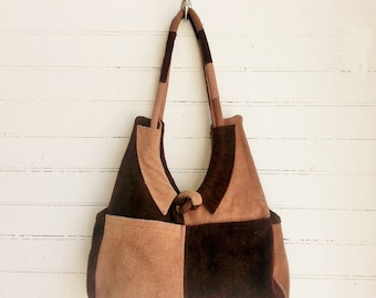 vintage 1970s suede color block purse