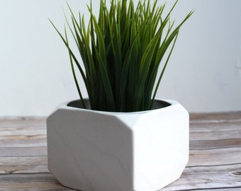 Geometric Planter - Handmade Faceted Cube Planter - Modern Planter - White Ceramic Planter - Indoor Gardening - Gift for Gardener