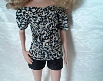 Studded Animal Print T and Leather Short for Barbie or similar fashion doll