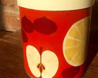 Vintage Red Container with Fruit Slices