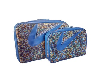 Vintage Luggage Set - Vintage 2pc Paisley Suitcases w/ KEY, 1960s Blue Boho Luggage, Nesting Suitcases, Mid Century Modern, AD Sutton & Sons