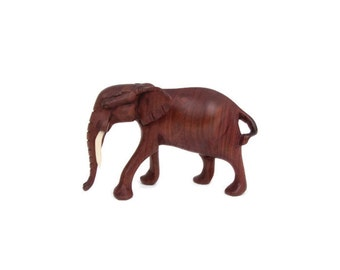 Vintage Carved Wood Elephant African Elephant Hand Carved Wood Trunk Down for Power Safari Decor