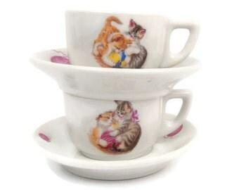 Vintage Suisse Langenthal Porcelain Demitasse Set of 2 Teacup Saucer Kittens Playing With Ball Switzerland Hand Painted Cats Child Tea Set