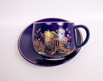 Vintage Cobalt Blue Teacup Saucer Rickshaw and Floral Design Gold Trim Made in Japan Hand Painted Porcelain