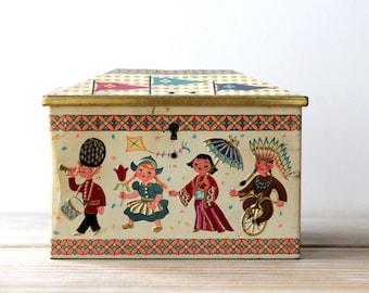 Vintage retro candy tin bank / mid century kitsch home decor / retro home decor / world cultures / collectible tin bank / retro desk decor