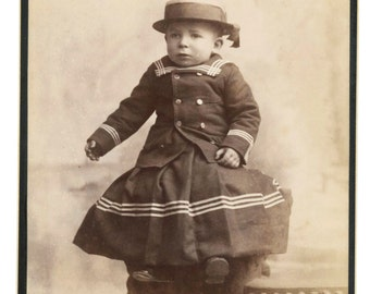 Priceless Photo Toddler in Sailor Suit and Hat - 1800s cabinet card in excellent condition