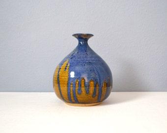 Vintage Large Stoneware Studio Weed Pot with Drip Glaze