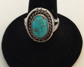 Vintage Old Pawn Turquoise and Silver Ring Size 8 1/4