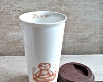 Meditating Sloth Travel Mug, Namaste Baby Sloths, Coffee or Tea cup Sloth Meditation 16 oz Takeaway Tumbler Mug,  Porcelain,  Ready to Ship