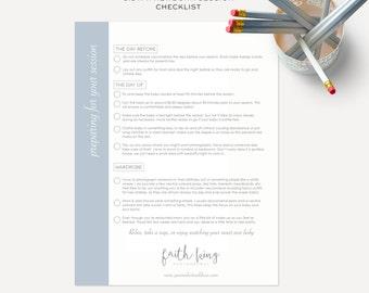 8.5 x 11 Newborn Session Checklist - Printable Photoshop Template - DIY - SKU CL001