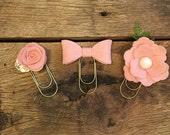Felt Flower Planner Clips/Felt Flower Bookmarks/Felt Flower Paper Clips/Pink Felt Flower Bookmarks/Pink Bow Paperclip