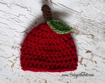 Newborn Red Apple with Stem and Leaf Crochet Photo Prop Hat 0-12 Months