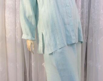 Vintage 90's Eileen Fisher 2 PC aqua  textured weave linen blouse and wide legged ankle pants set size L