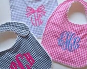 Personalized Gingham Baby Bib