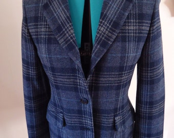 100% Wool Blue Plaid Blazer