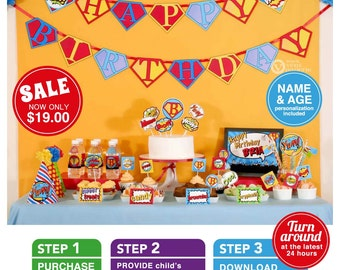 Superhero Birthday Party Package Personalized FULL Collection Set - PRINTABLE DIY - PS825CA1x