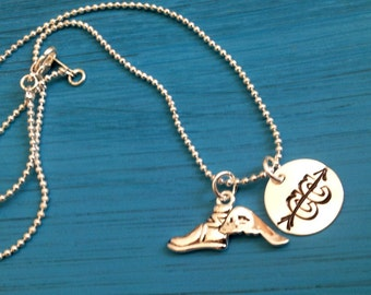 Cross Country Runner Necklace. Distance Runner. Custom. X Country.  Foot with wing Charm