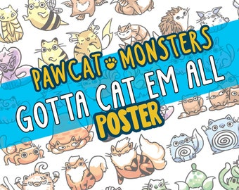 150 Pokemon as cats! 11 by 17 poster, geekery, cats