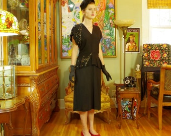 Vintage 40s Black Crepe Cocktail Dress . Film Noir Mystery Woman LBD . Night Sky Black & Silver Galaxy Sequin Accent . Peplum . The Thin Man
