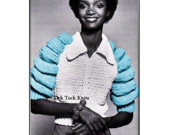 No.542 Crochet Jacket Pattern For A Woman PDF 1970's Vintage - Bubble Sleeve Jacket - Zippered Cardigan Sweater - Retro Crochet Pattern