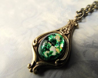 Opal Necklace Fire Opal Necklace Opal Jewelry Art Deco Necklace Art Nouveau Necklace 1920s Necklace Emerald Green Necklace- Beloved Necklace