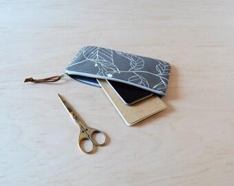 Zipper Clutch in Dark Leaves - Pencil Case, Zip Pouch