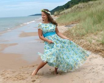 Vintage 70s Prom Dress - Blue Floral Party Dress, Romantic Maxi Gown - SM