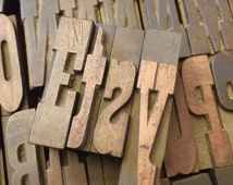 "Western Style Font WOODEN Letterpress Printing Blocks  - Wood Number and Letter - 2"" tall - a b c d e f g h I j k l m n I p q r s t u b w"