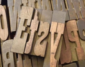 """Western Style Font WOODEN Letterpress Printing Blocks  - Wood Number and Letter - 2"""" tall - a b c d e f g h I j k l m n I p q r s t u b w"""