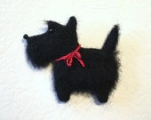 Needle Felted Scottie - Scottish Terrier - Brooch - Magnet - Black Dog - by Marina Lubomirsky