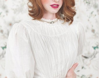 White Cotton Victorian Dress. // SM. Ruffle Lawn dress. // Spring Victorian Dress. Item # 000020