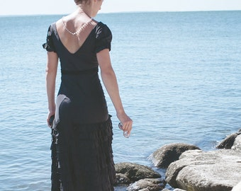Antique Black Ruffle Gown./ Cap Sleeves., Tiered Full Bottom Skirt. Fitted Bodice.