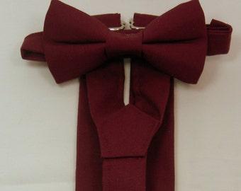 On Sale: Sangria Suspenders and Sangria Bow Tie Set. Sizes Infant - Adult. Bridal Color Sangria. Bridal Color Berry.