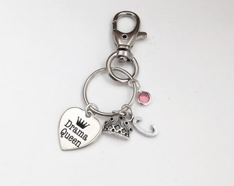 Personalized Drama Queen Keychain