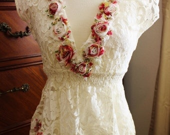Paris Couture Lace and Cabbage rose top
