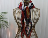 Vintage Waffle Scarf Flags and Sun Red White and Blue