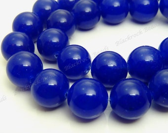 10mm Dark Blue Jade Round Gemstone Beads - 15.5 Inch Strand - BE16