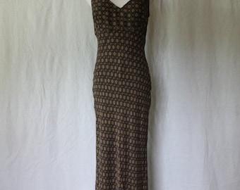 Vintage CK Calvin Klein Ankle Length Brown 1990's minimalist sheath Gown Dress 8