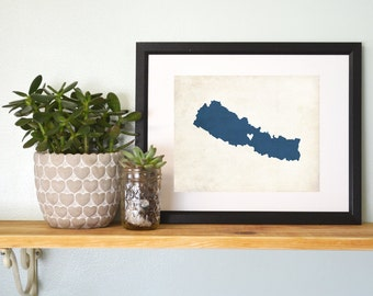 Nepal Personalized Country Map Art 8x10 Print.