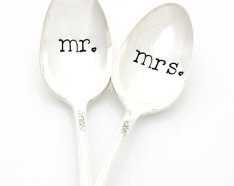 Mr and Mrs spoons, hand stamped silverware. Custom table setting makes a unique engagement gift idea under 25