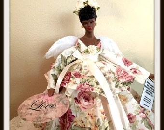 African American Angel Tree Topper Rose Floral Handcrafted OOAK Black Angel