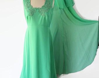 70s Miss Rubette Plus Size Dress Vintage Wedding Green Chiffon Caplet Maxi