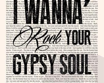 Into the Mystic Book Page - Van Morrison Lyrics Typography Print