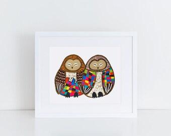 Sleepy Animal Collection / Sleepy Owls Print / Bird / 5x7 Original Illustration Print / Geometric / Woodland