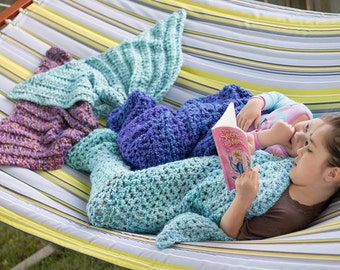 Mermaid Fin / Tail Blanket - Preschool, Children, Adult Sizes - Multiple Colors - Crocheted