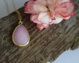 boho pink jade glass pendant necklace, bohemian style, gold filled chain, mothers day gift, gift for her, gift under 30, pendant necklace